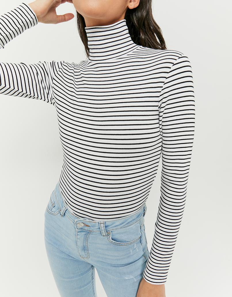 Striped Mock Neck Crop Top