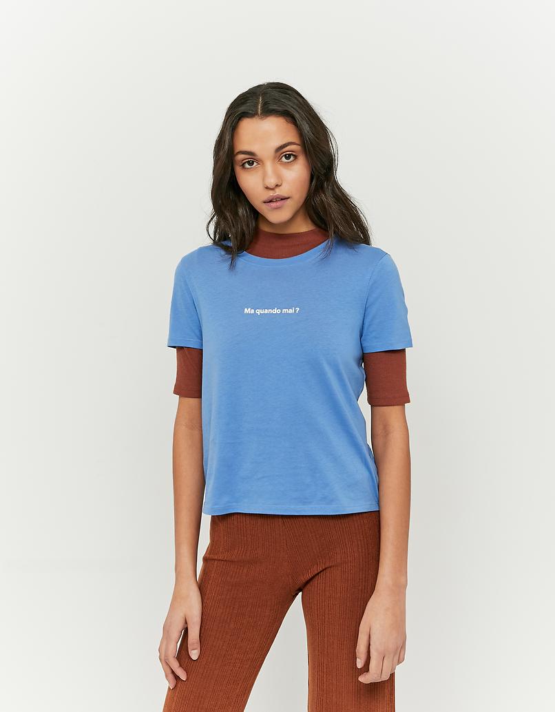 T-Shirt Bleu avec Slogan
