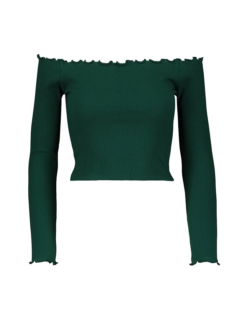 Khaki top Cropped z odkrytymi ramionami