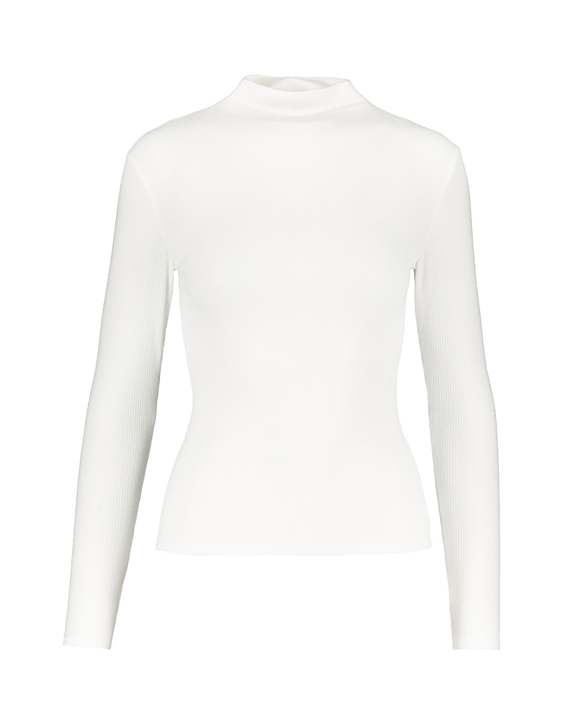 White Mock Neck Ribbed Top