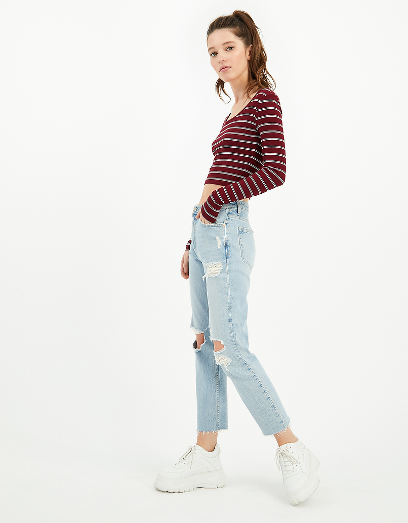 Crop Top Bordeaux Rayé