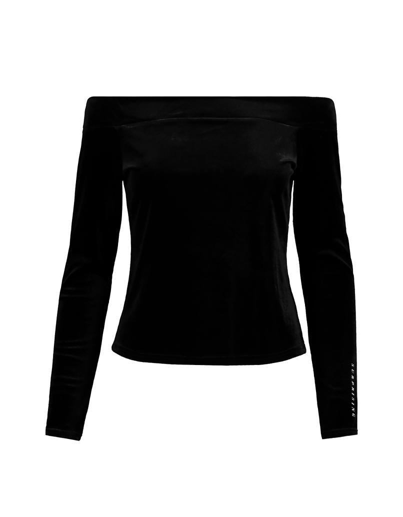 Black Off Shoulders Velvet Top