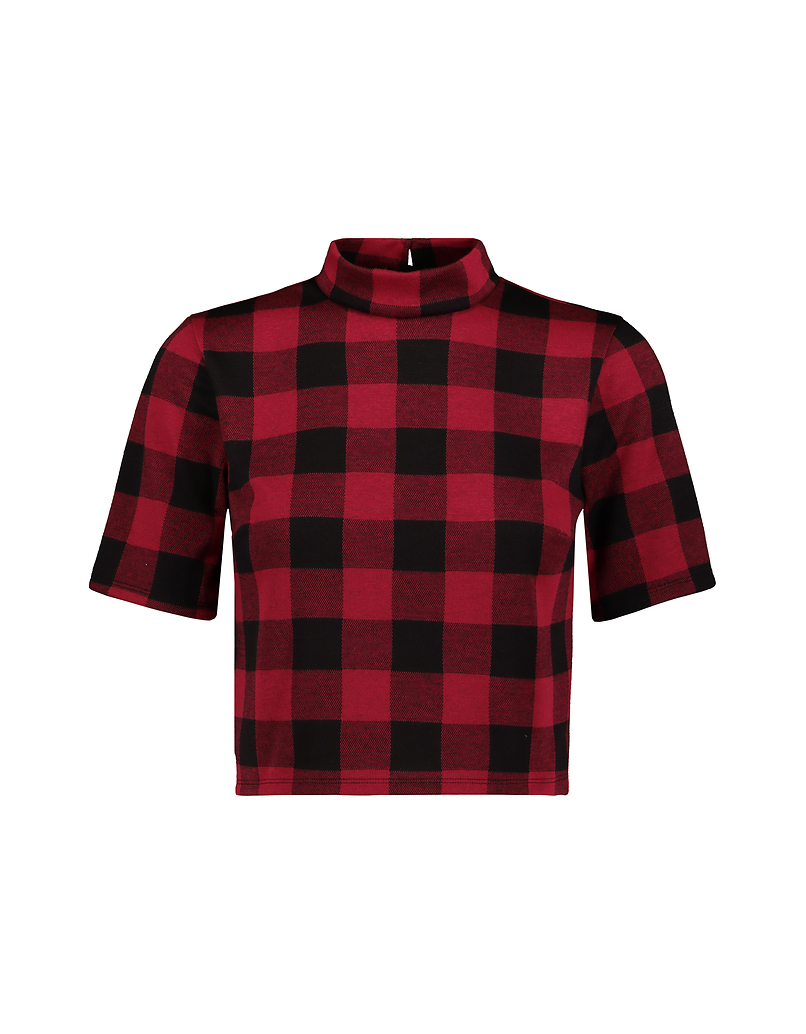 Red Check Print Top