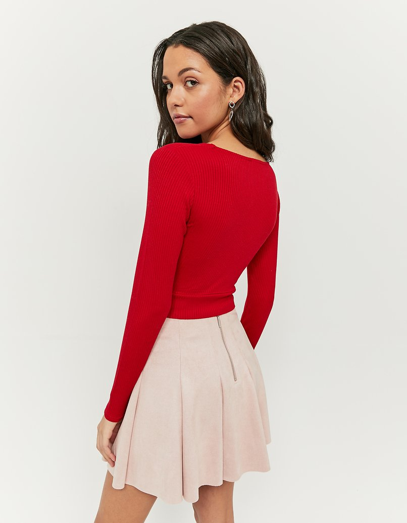 Red Basic Long Sleeve Top