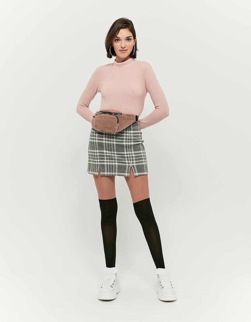 Pinkes Top mit Stehkragen