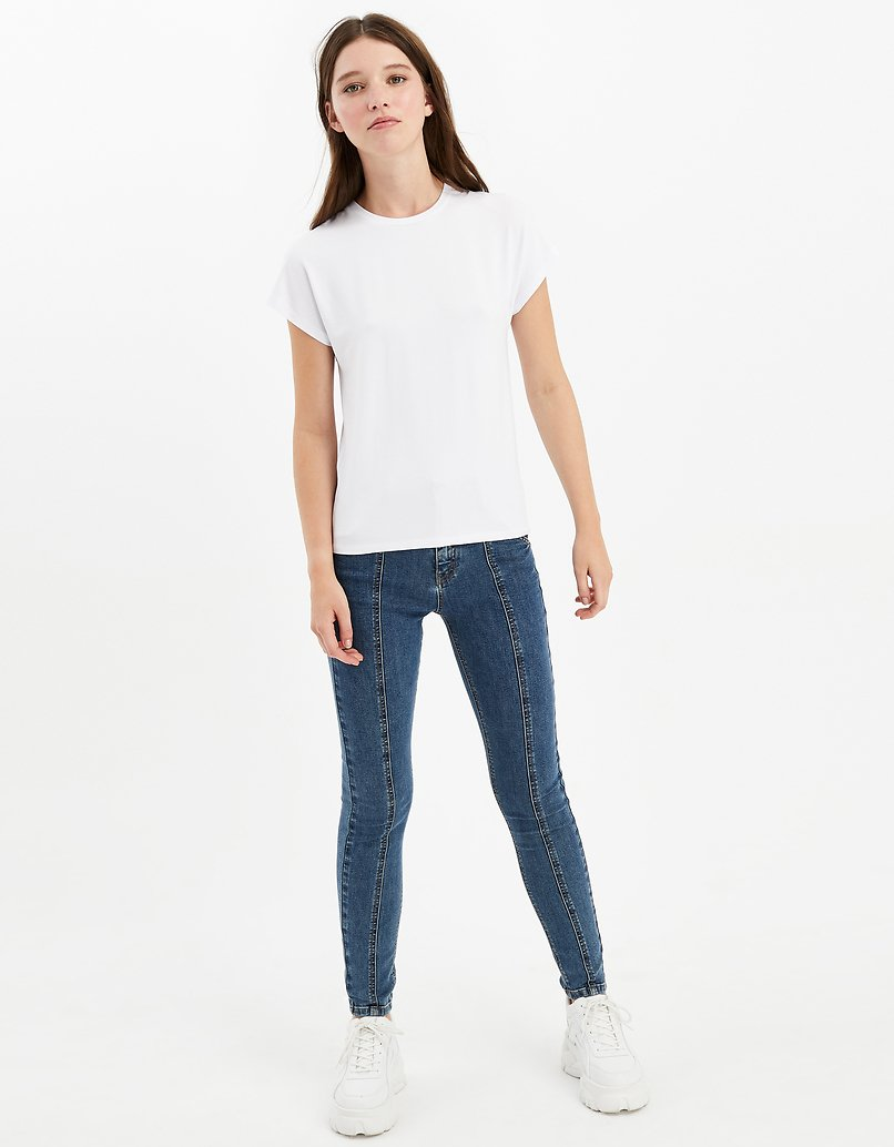 White Seamless Sleeves Top