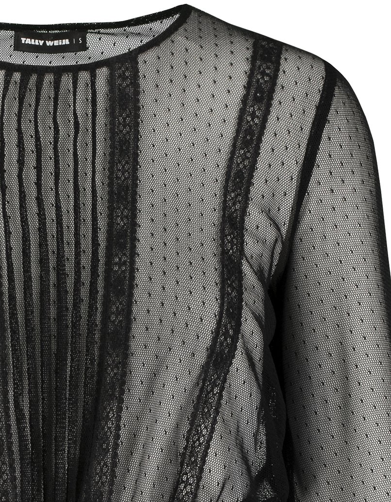 Blusa Nera in Tulle Trasparente a Pois