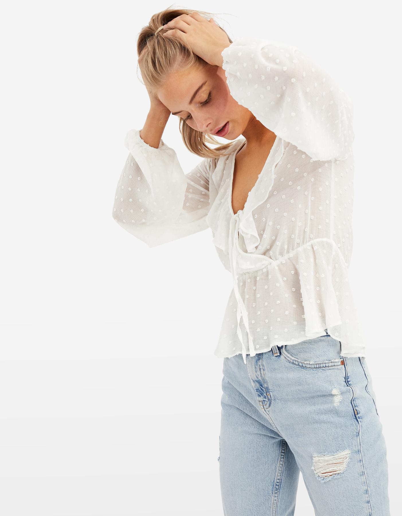 Blusa Trasparente a Pois