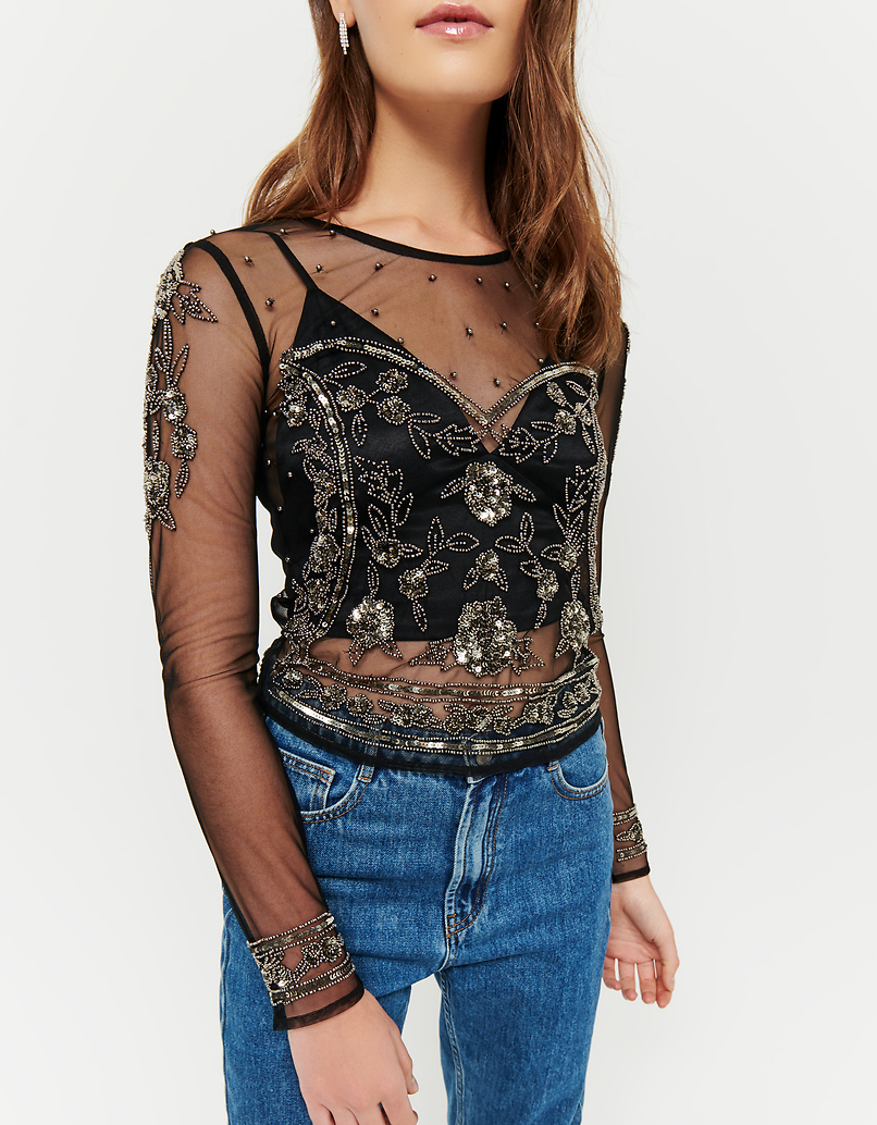 Transparent Top with Sequins