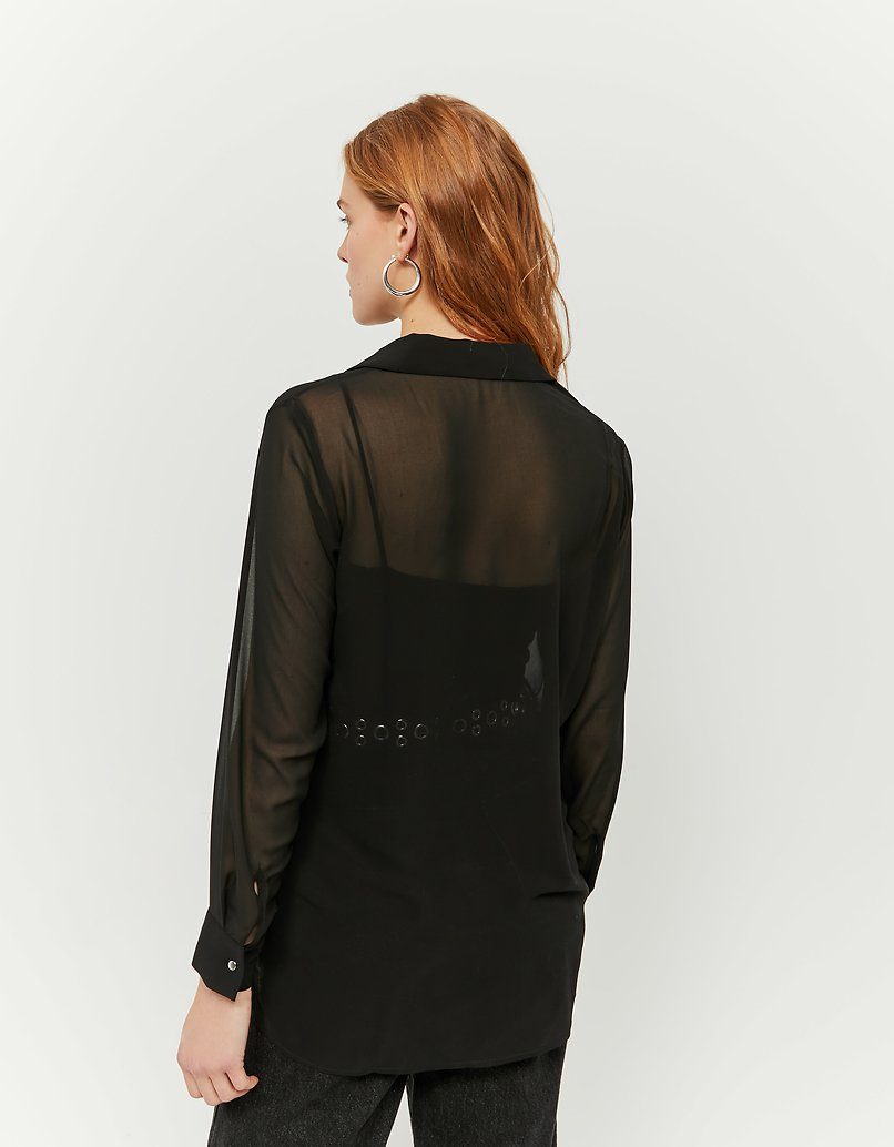 Schwarze transparente Bluse