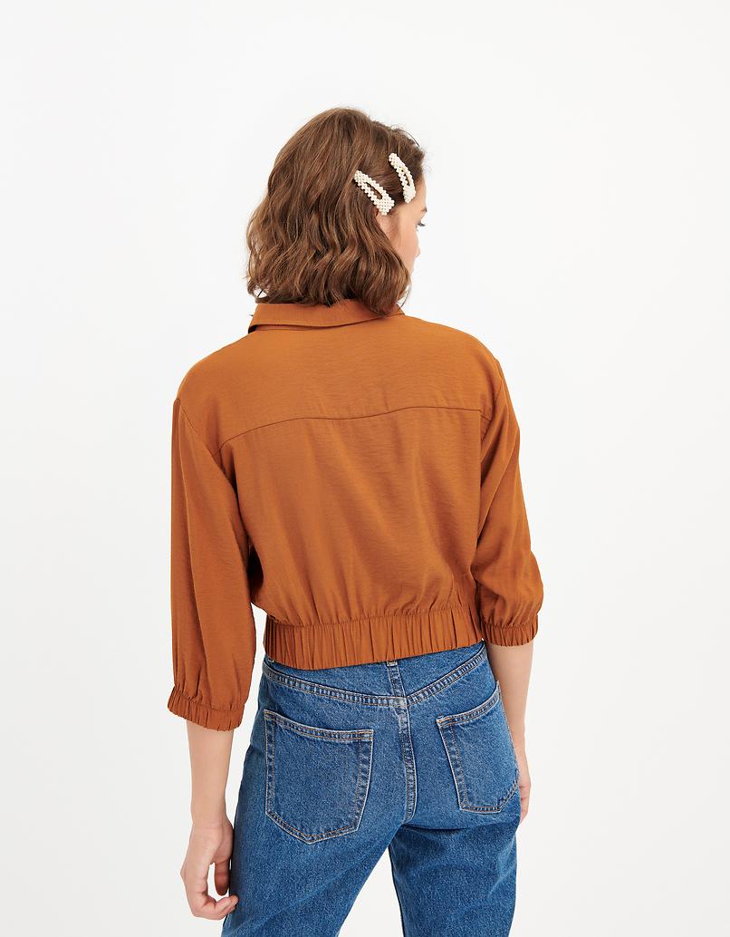 Cognac Cropped Shirt