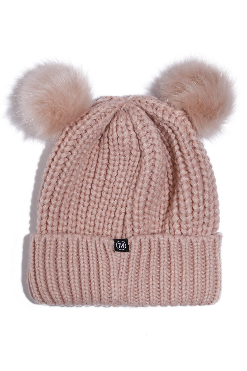 Pink Beanie with Pompoms