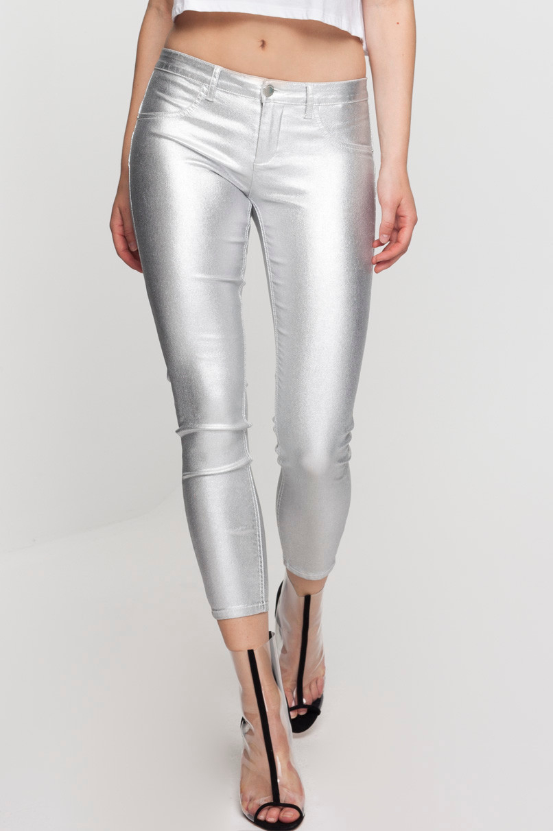 Silver Low Waist Push-Up Trousers