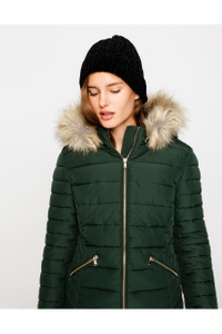 Green Puffer Jacket with Hood