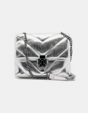 Silver Quilted Crossbody Bag