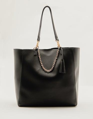 Black Faux leather Shopper Bag