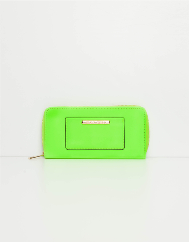Neon Yellow Zip around Wallet