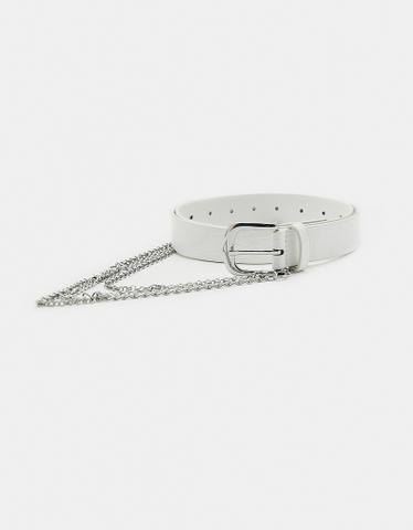 White Croco Print Belt with Chain