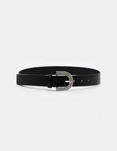 Rhinestones Buckle Black Belt