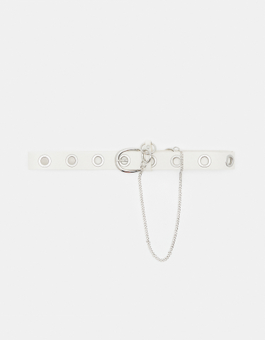 White Eyelet Belt with Chain