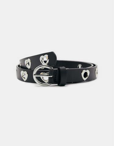 Black Belt with Heart Eyelets