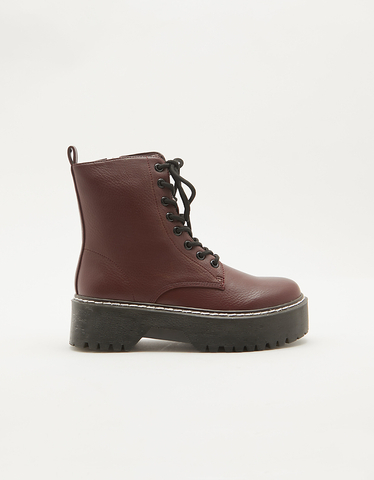 Burgundy Lace-up Ankle Boots