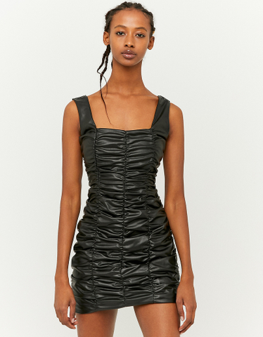 Ruched Faux Leather Bodycon Dress