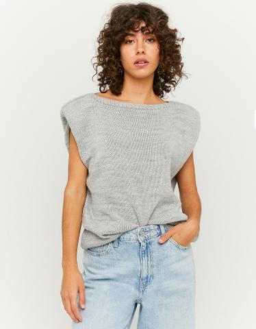 Ärmelloser Pullover mit Schulterpolstern