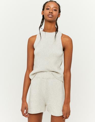 White Knit Shorts