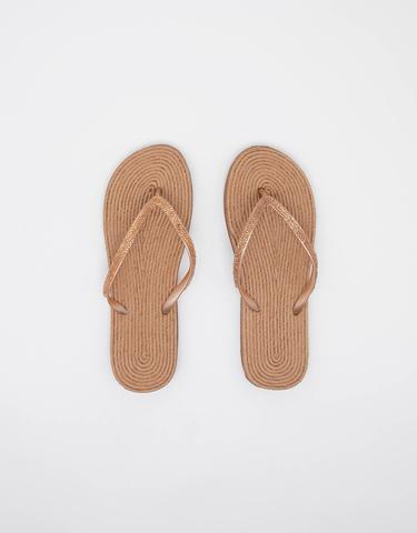 Beige Flip Flops with Raffia Sole