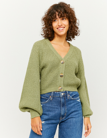 Green Cropped Cardigan