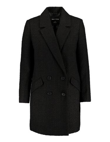 Black Double Breasted Tweed Coat
