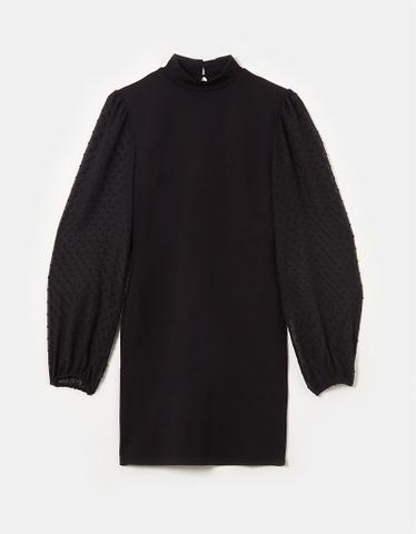 Puff Sleeve Black Mini Dress