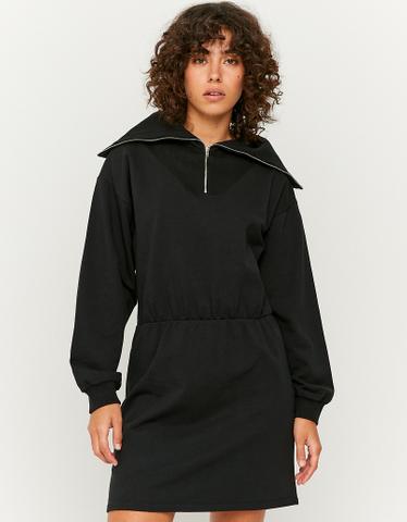 Zip Collar Mini Sweat Dress