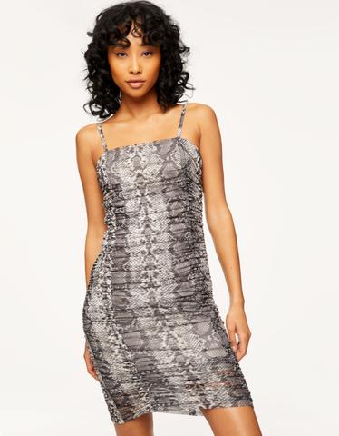 Snake Shirred Dress