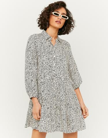 Printed Ruffle Shirt Dress