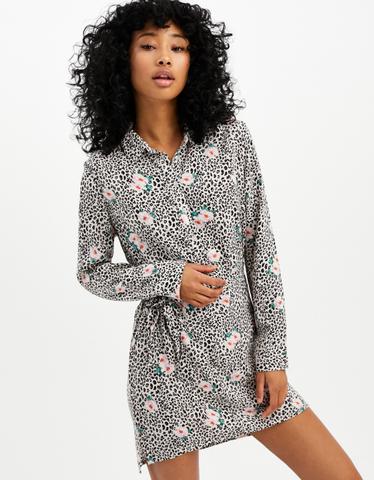 Leo & Floral Print Shirt Dress