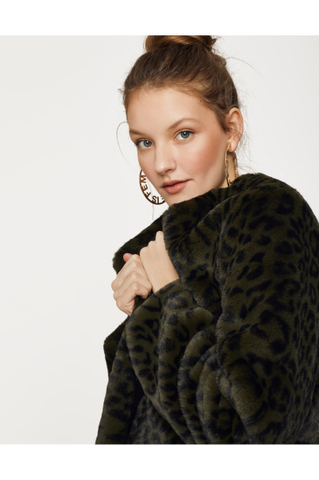 Green Leo Faux Fur Jacket