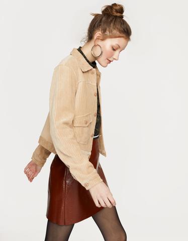 Beige Ribbed Velvet Jacket