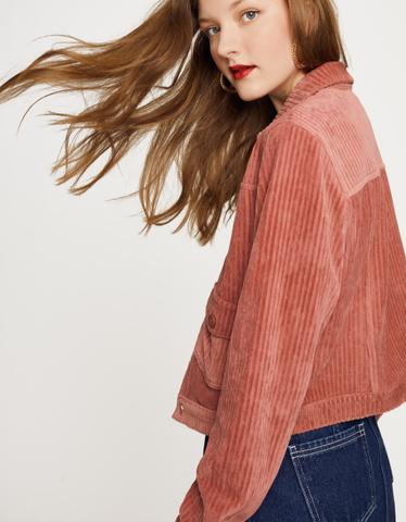 Pink Ribbed Velvet Jacket