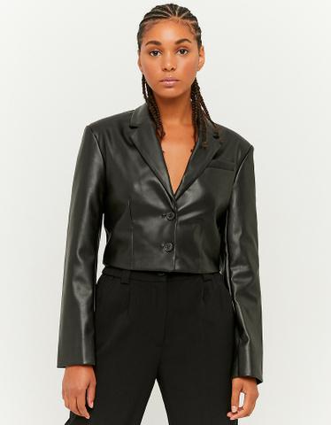 Black Faux Leather Blazer