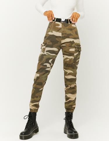 Pantalon Vert Taille Haute Cargo