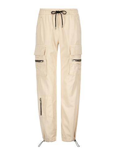 Beige Zipped Cargo Pants