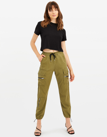 Khaki Zipped Cargo Pants