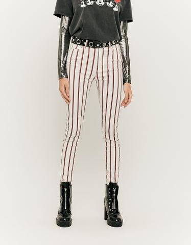 High Waist Pinstripe Skinny Pants