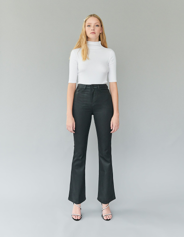 Black Coated Skinny Flare Trousers