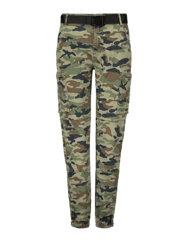 Pantalon Cargo Camouflage à Détail Zip