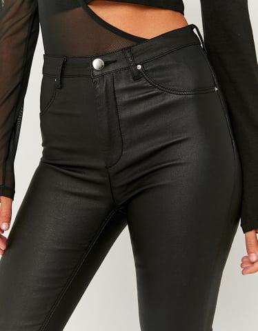 Black Mid Waist Push Up Trousers
