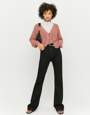 Jean Flare Taille Haute Noir