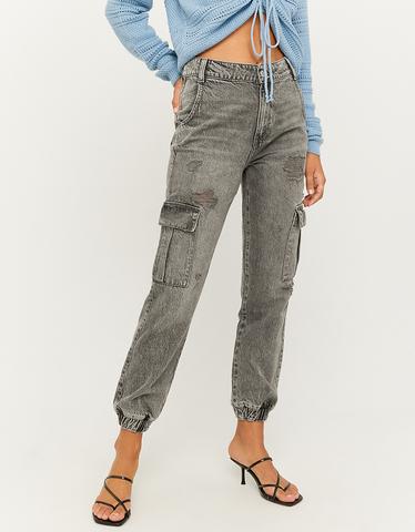 Jean Cargo Taille Haute Gris